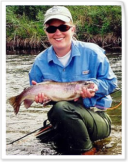 Lady angler with good-looking Rainbow trout